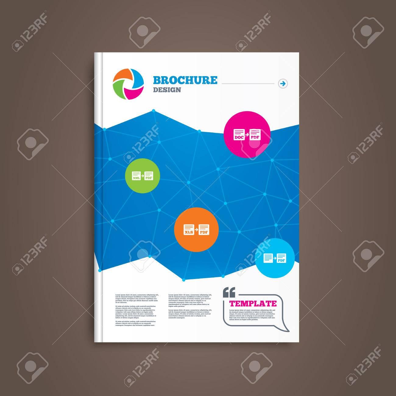Brochure Ou Depliant Design Icones De Fichier D Exportation Convertir Doc En Pdf Xml Aux Symboles Pdf Xls Au Format Pdf Avec Le Signe De Fleche
