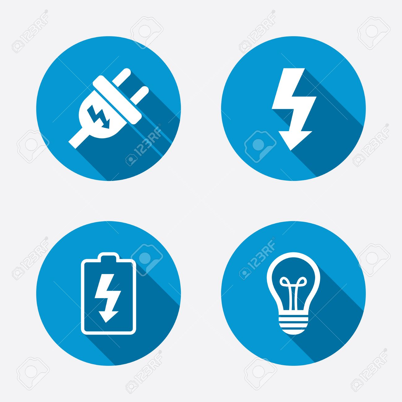 Electric Plug Icon. Lamp Bulb And Battery Symbols. Low Electricity ...