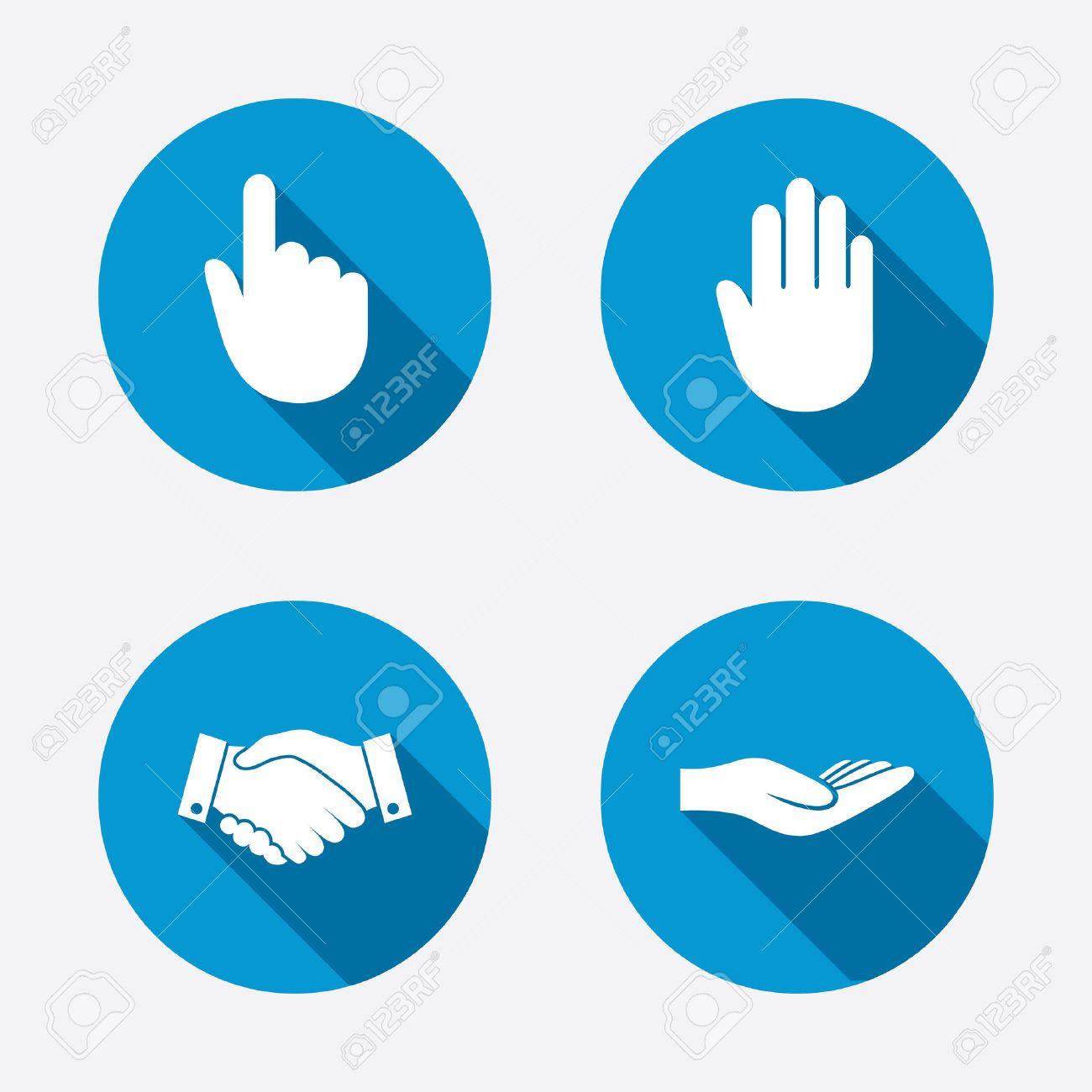 Icônes De Main. Poignée De Main Symbole Entreprise Prospère. Cliquez ...