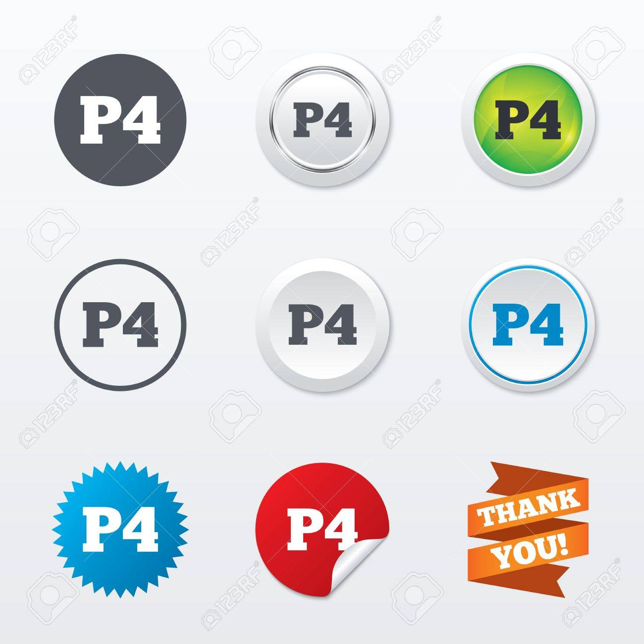 Parking Fourth Floor Sign Icon Car P4 Symbol Circle Concept Buttons Metal