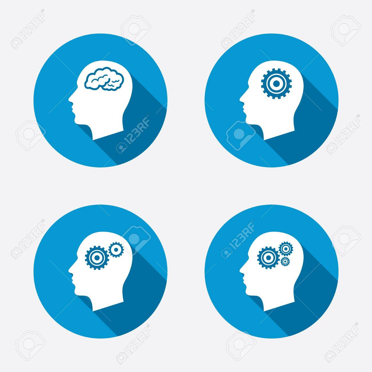 Head with brain icon male human think symbols cogwheel gears head with brain icon male human think symbols cogwheel gears signs circle concept biocorpaavc Images