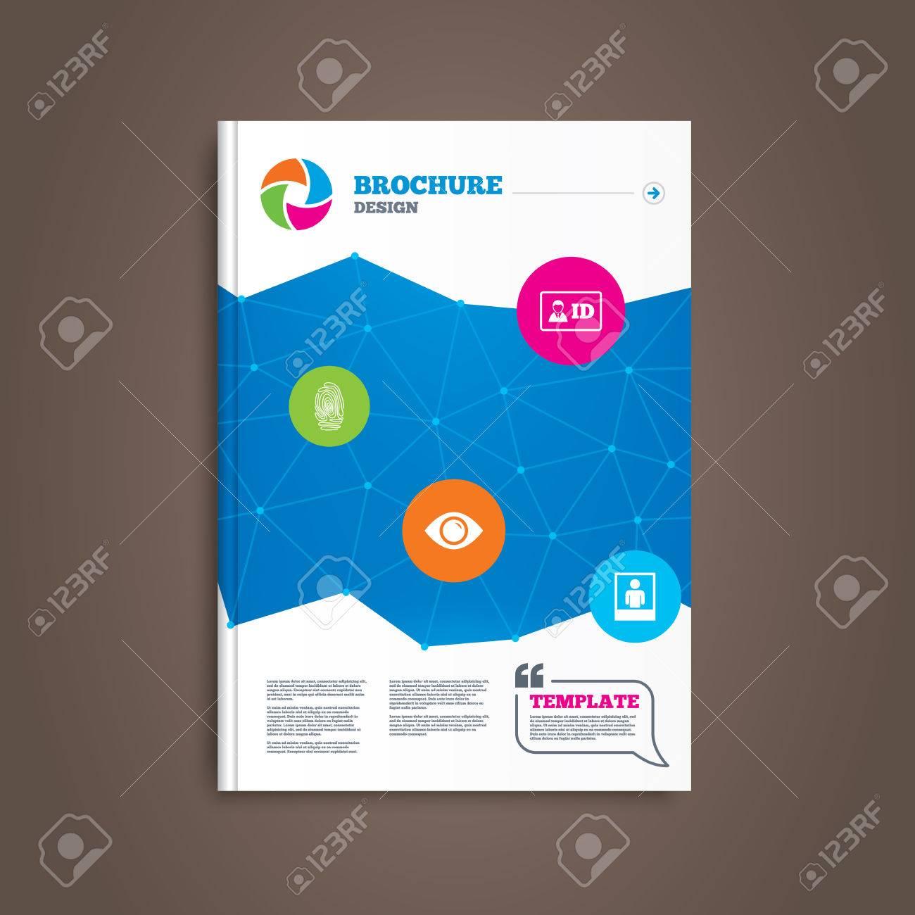 Broschüre Oder Flyer Design. Identitätsausweis Abzeichen-Ikonen ...