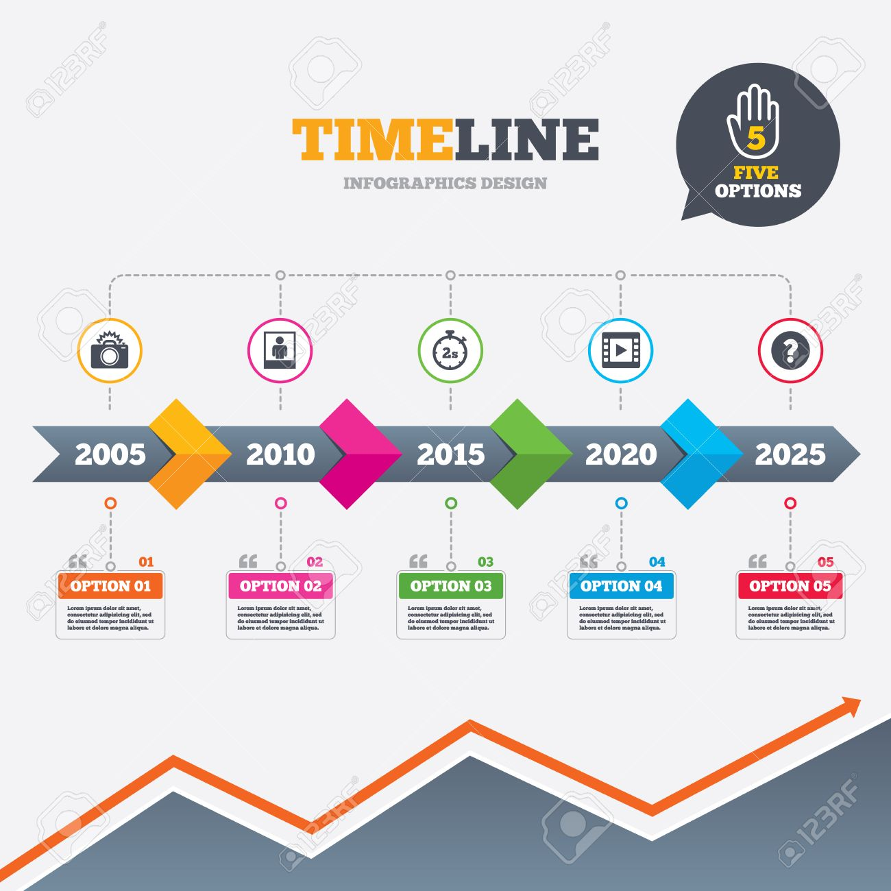 timeline infographic with arrows. photo camera icon. flash light