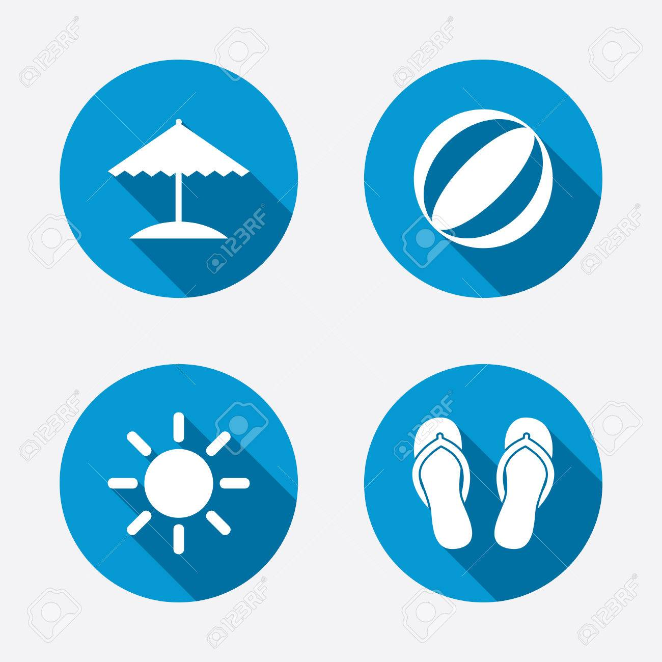 Sandals shoes holidays - Beach Holidays Icons Ball Umbrella And Flip Flops Sandals Signs Summer Sun