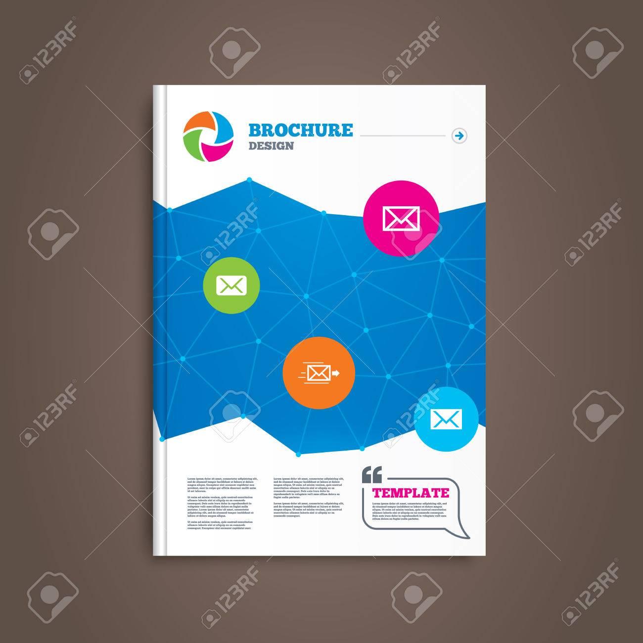 brochure or flyer design mail envelope icons message delivery