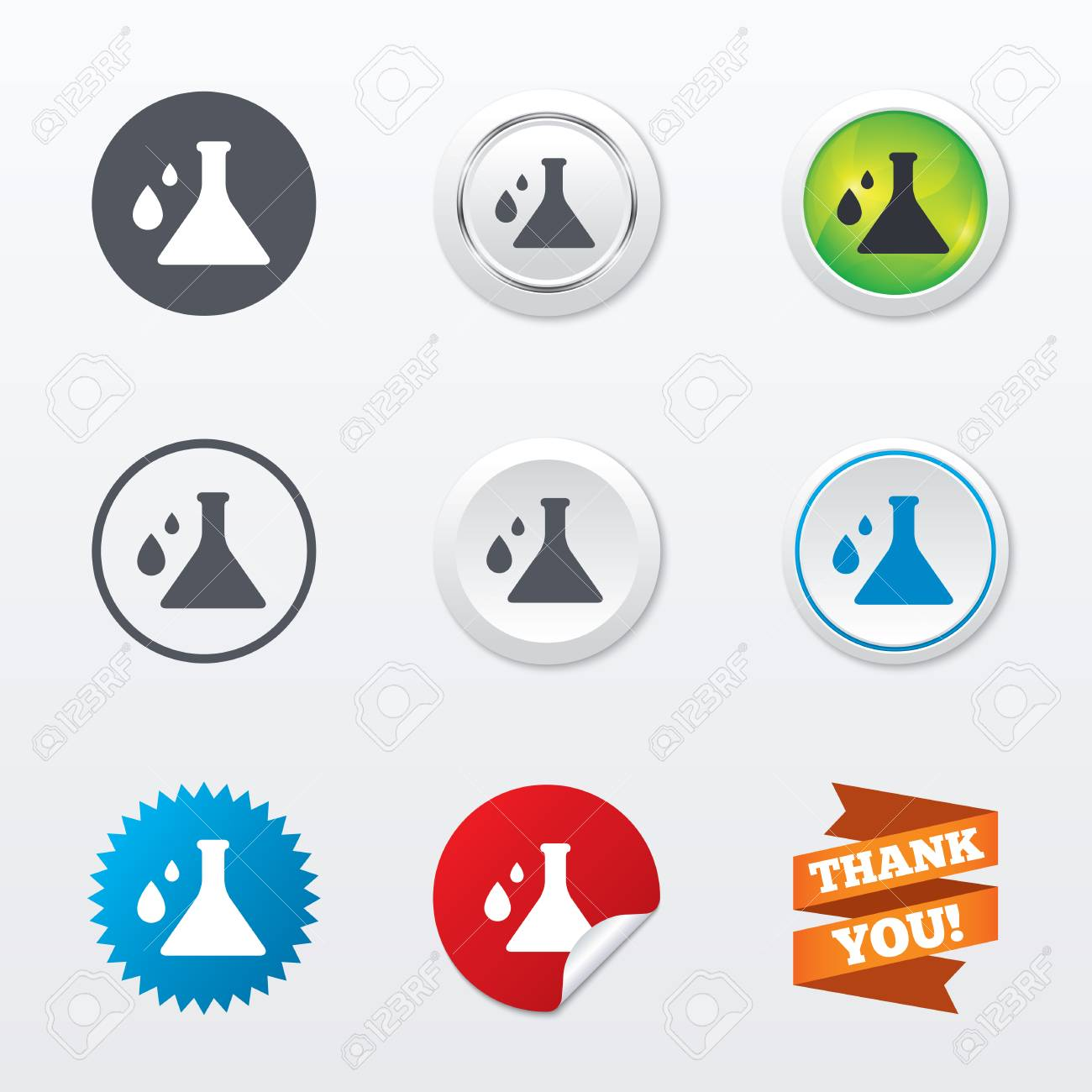 Chemistry Sign Icon. Bulb Symbol With Drops. Lab Icon. Circle ...