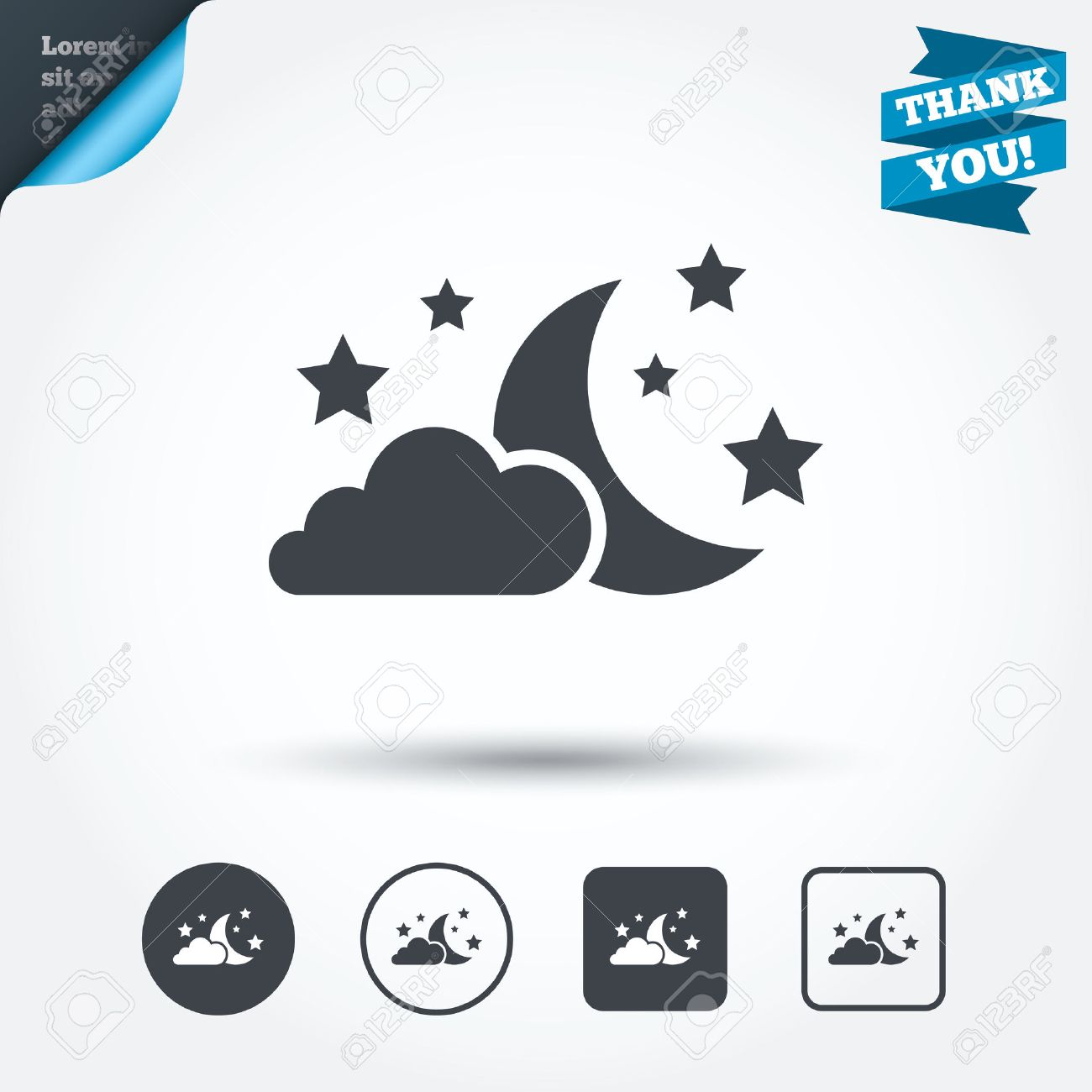 Moon Clouds And Stars Icon Sleep Dreams Symbol Night Or Bed