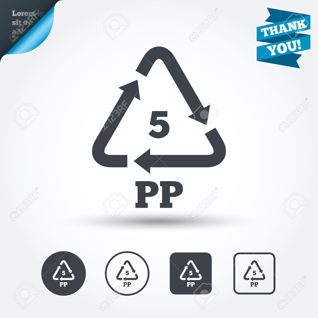 PP 5 Icon. Polypropylene Thermoplastic Polymer Sign. Recycling ...