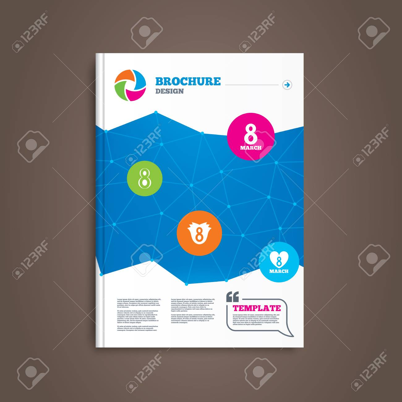 Brochure Or Flyer Design 8 March Womens Day Icons Tulip Rose Flower Diagram And