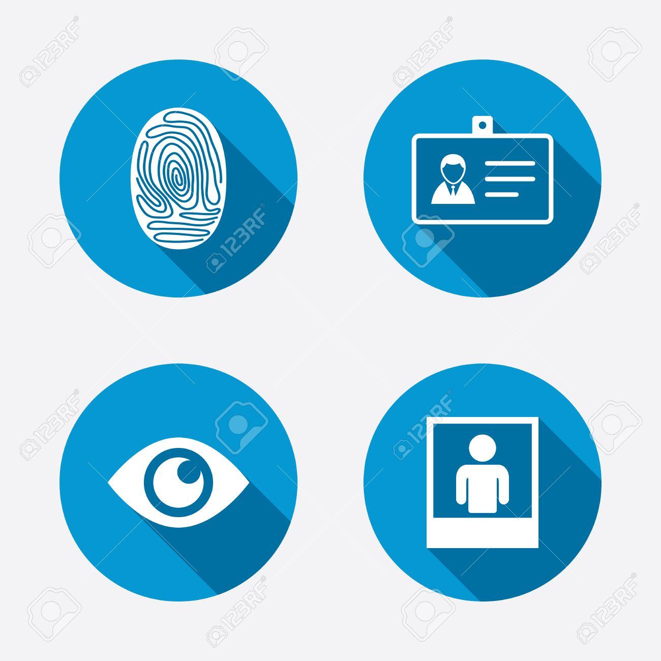 Identitätsausweis Abzeichen-Ikonen. Auge Und Fingerprint-Symbole ...