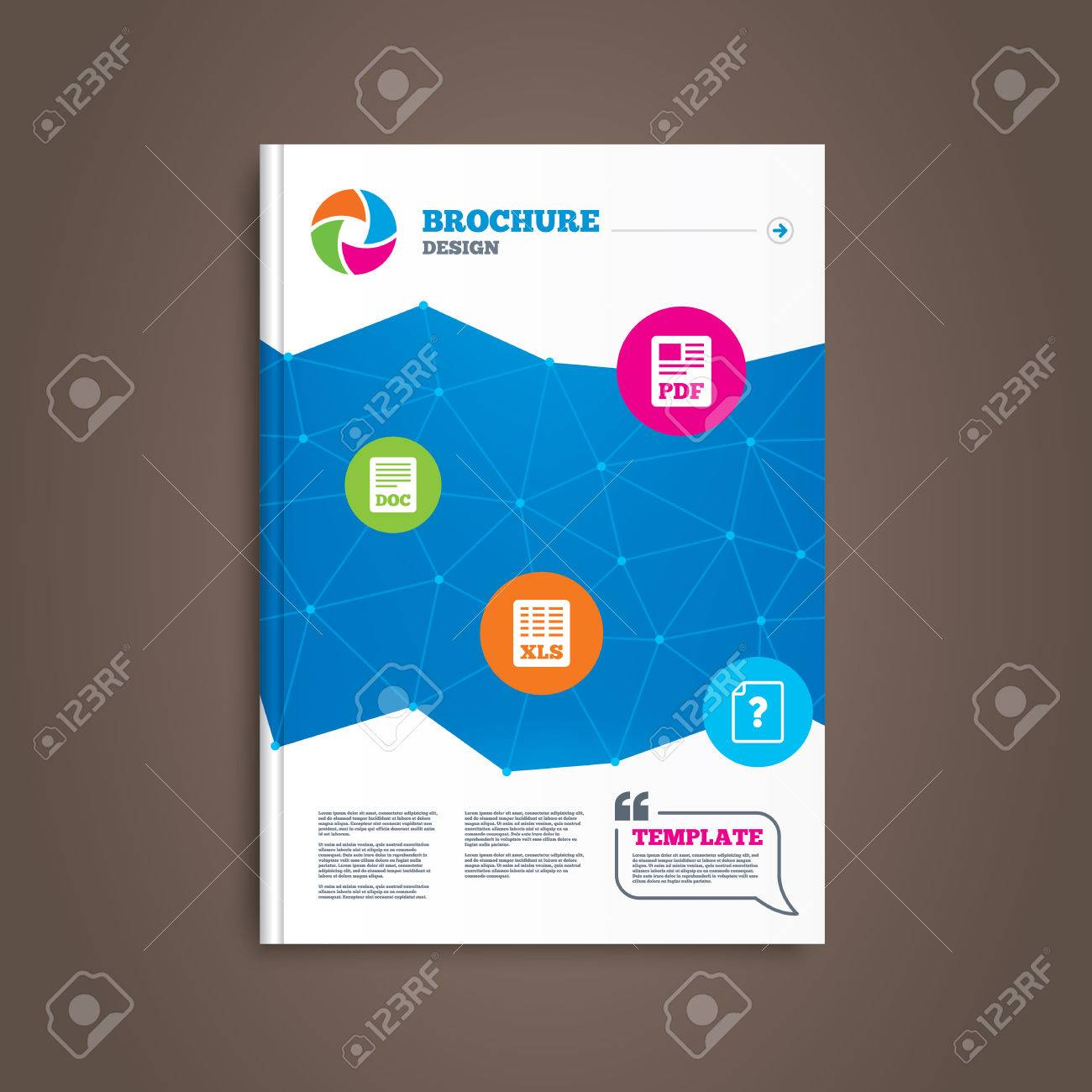 brochure or flyer design file document and question icons xls