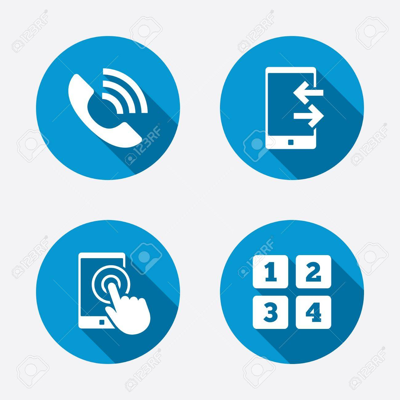Phone Icons Touch Screen Smartphone Sign Call Center Support