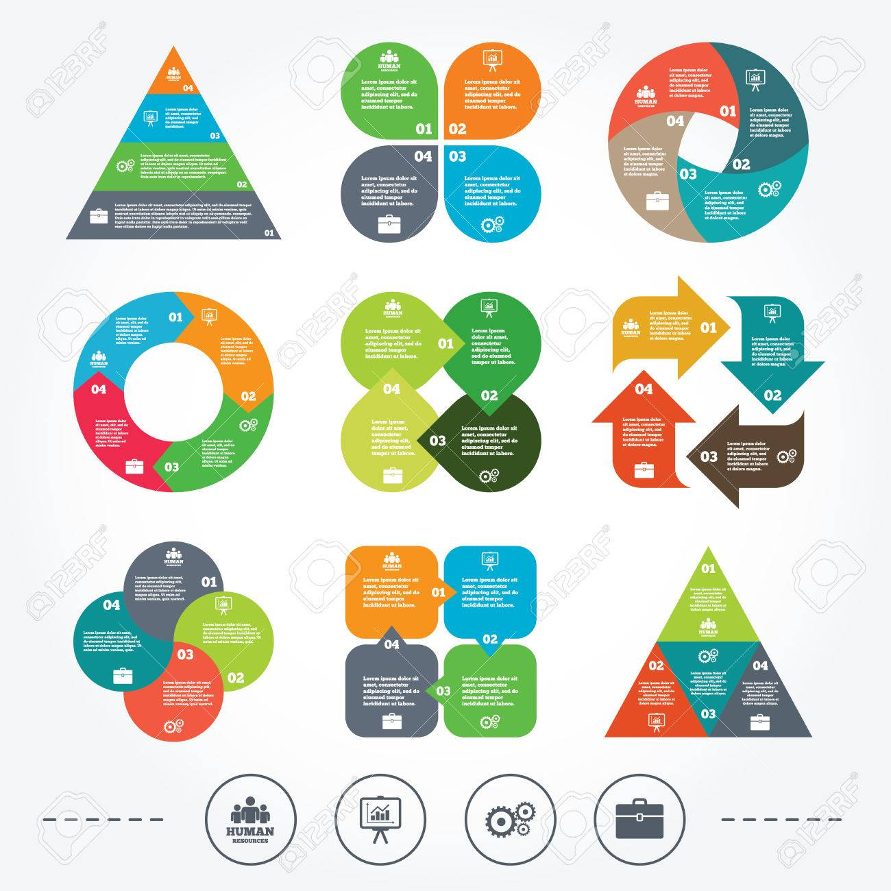 circle and triangle diagram charts  human resources and business    vector   circle and triangle diagram charts  human resources and business icons  presentation board   charts signs  case and gear symbols
