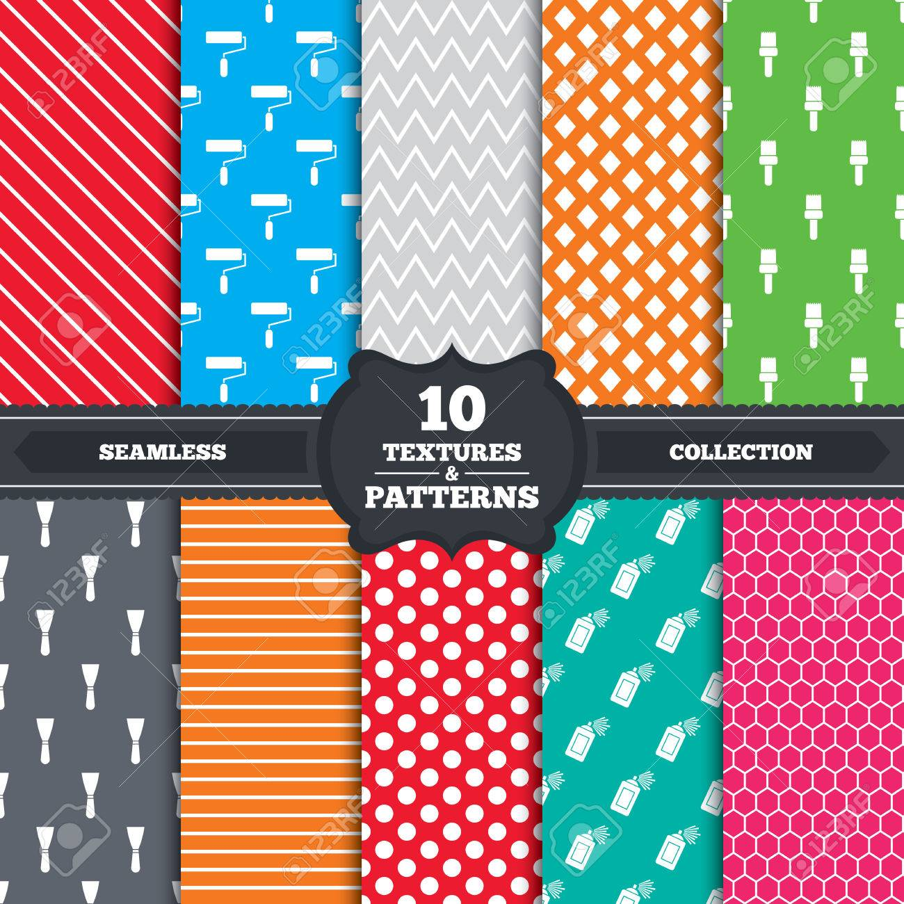 Seamless patterns and textures  Paint roller, brush icons  Spray