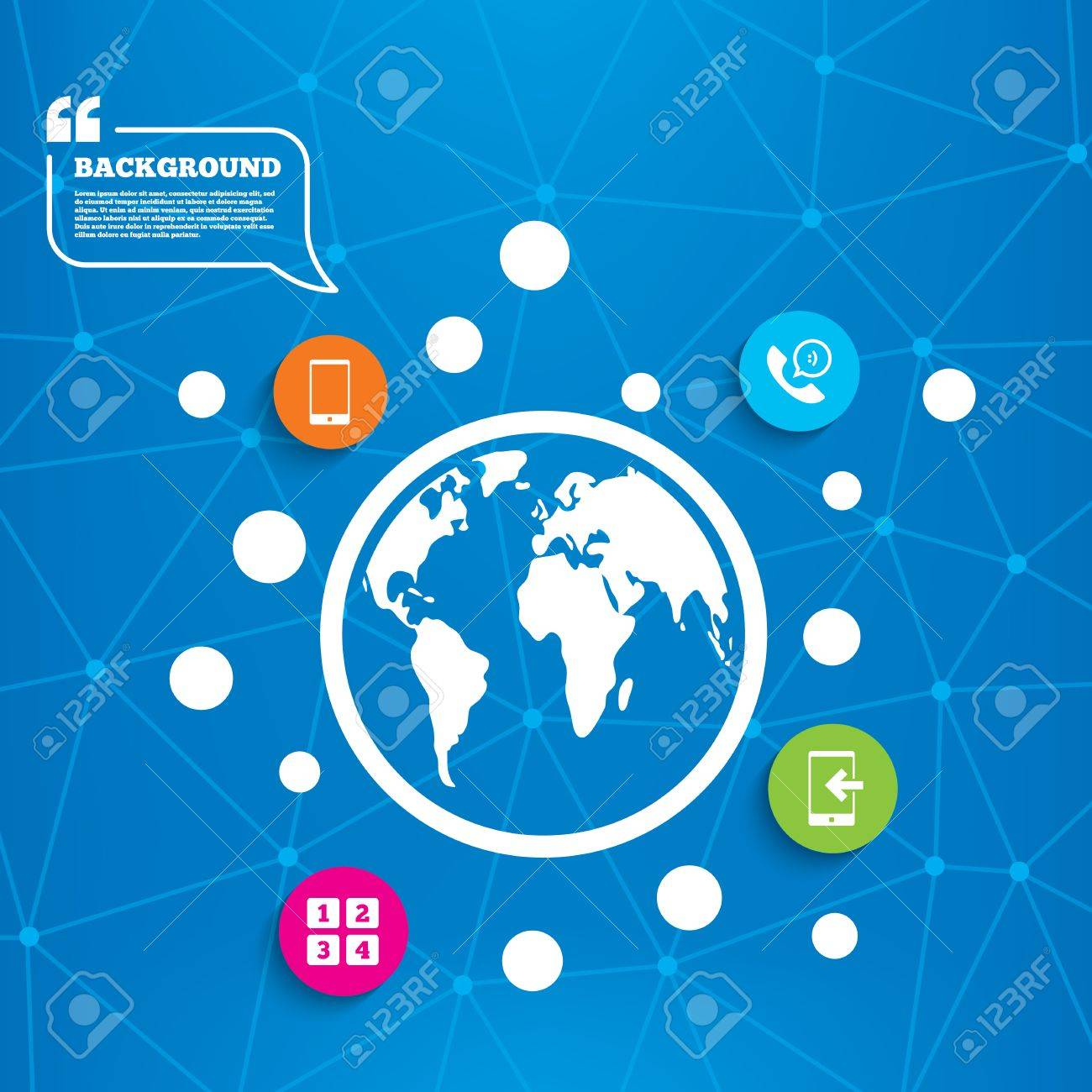 Abstract world globe  Phone icons  Smartphone incoming call sign