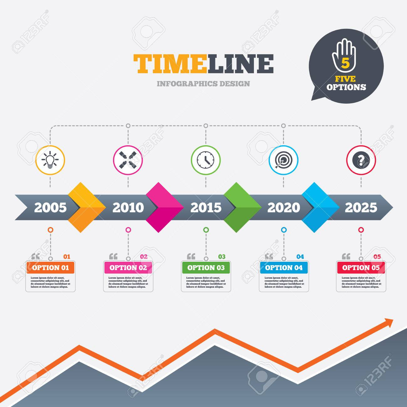 Timeline infographic with arrows lamp idea and clock time icons growth chart vector timeline infographic with arrows lamp idea and clock time icons target aim sign geenschuldenfo Images