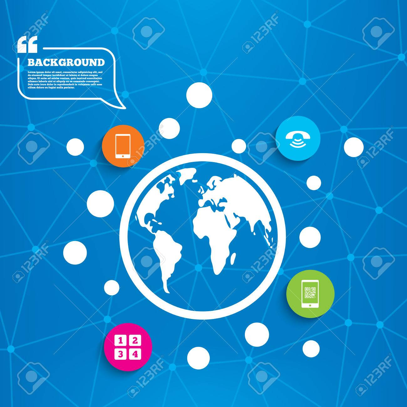 Abstract world globe  Phone icons  Smartphone with Qr code sign