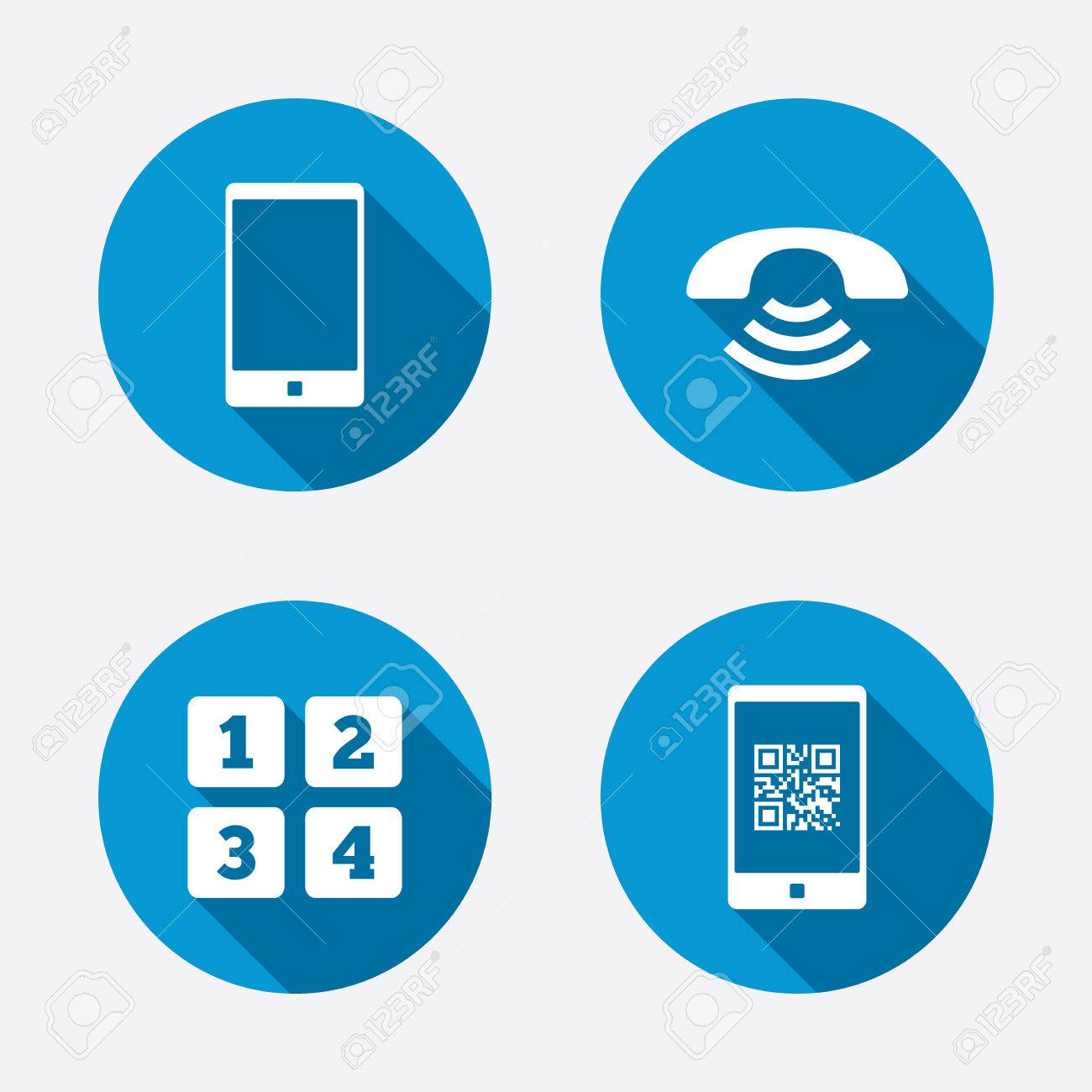Phone icons smartphone with qr code sign call center support phone icons smartphone with qr code sign call center support symbol cellphone keyboard biocorpaavc Images