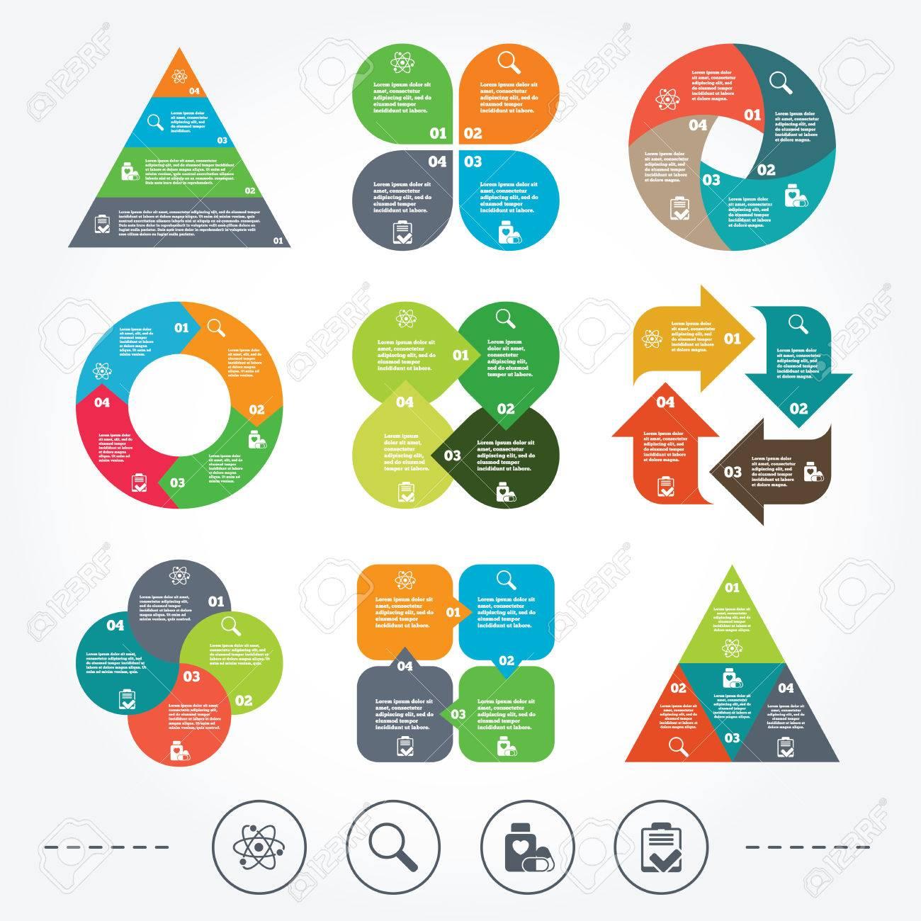 Circle Y Diagrama Triángulo Gráficos. Iconos Médicos. Atom, Lupa ...