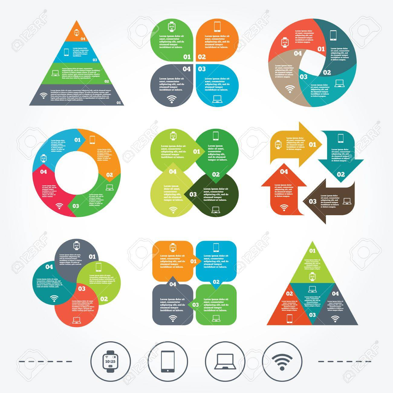 Circle And Triangle Diagram Charts Notebook And Smartphone Icons