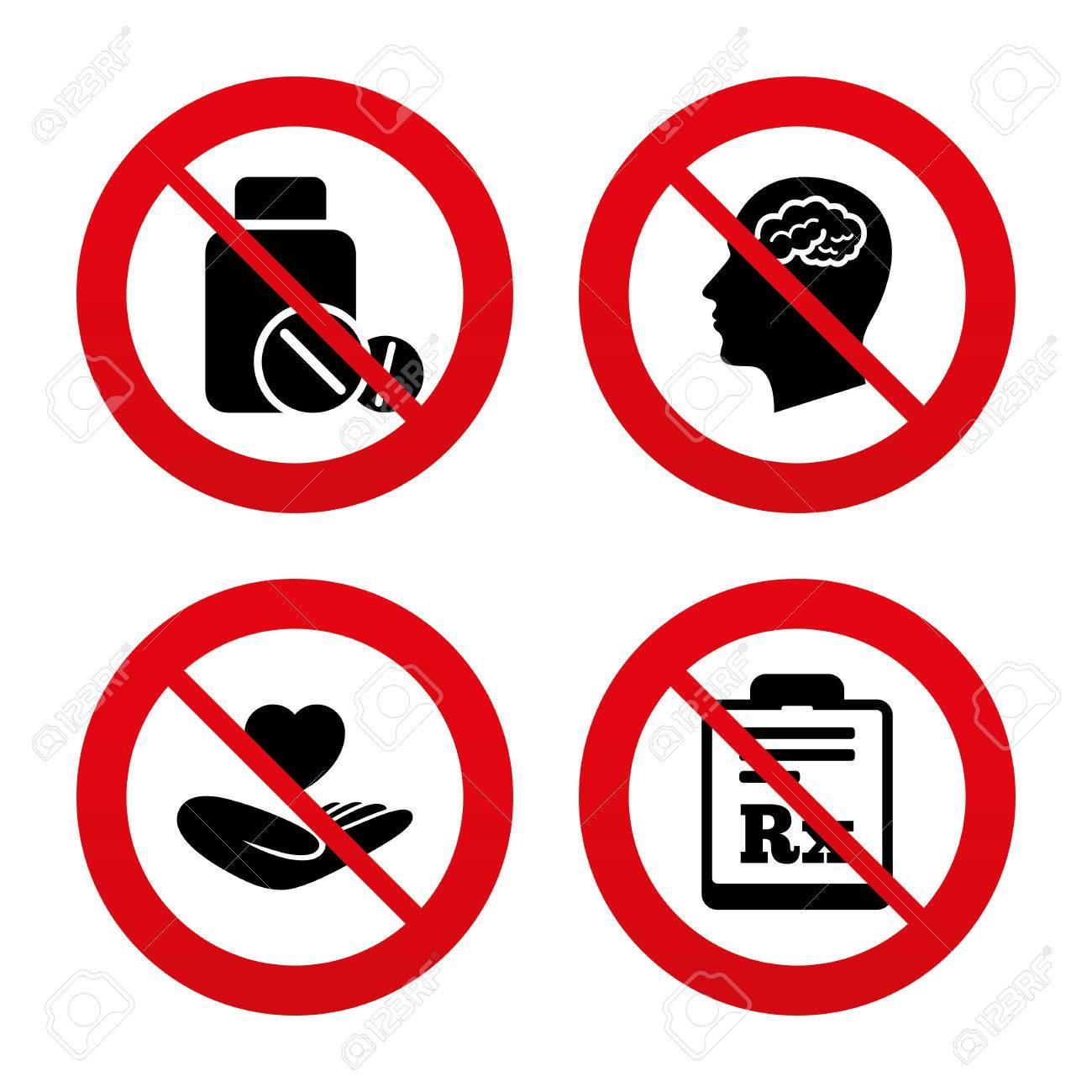 Signos No, Ban O Detenerse. Iconos De La Medicina. Tablillas Médicas ...