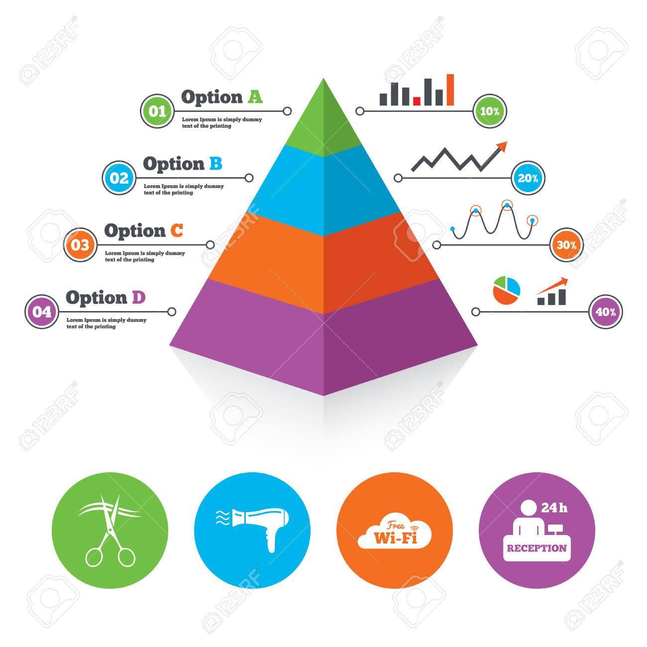 Pyramid Diagrammvorlage. Hotel Dienstleistungen Symbole. Wi-Fi, Fön ...