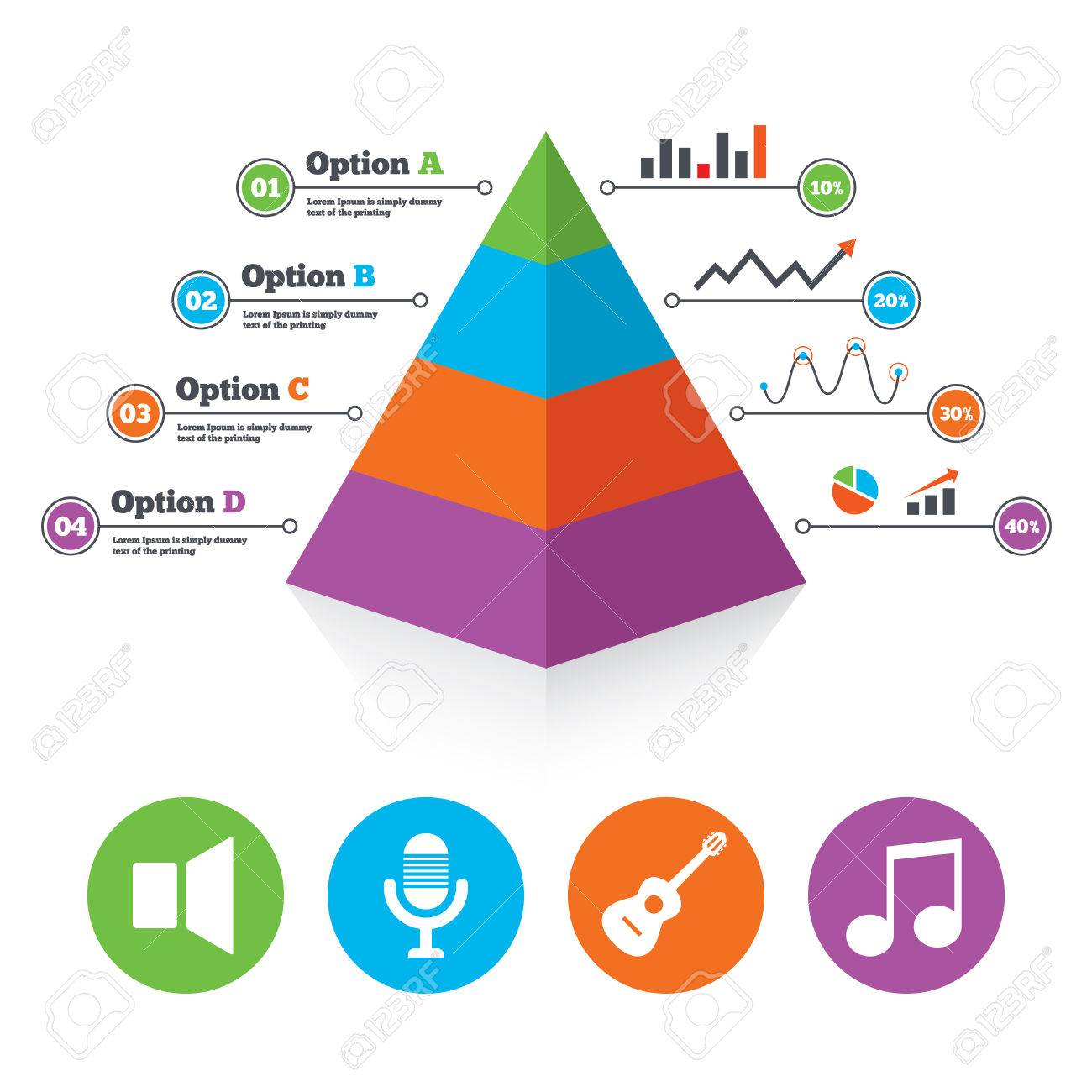 pyramid chart template musical elements icons microphone andpyramid chart template musical elements icons microphone and sound speaker symbols music note