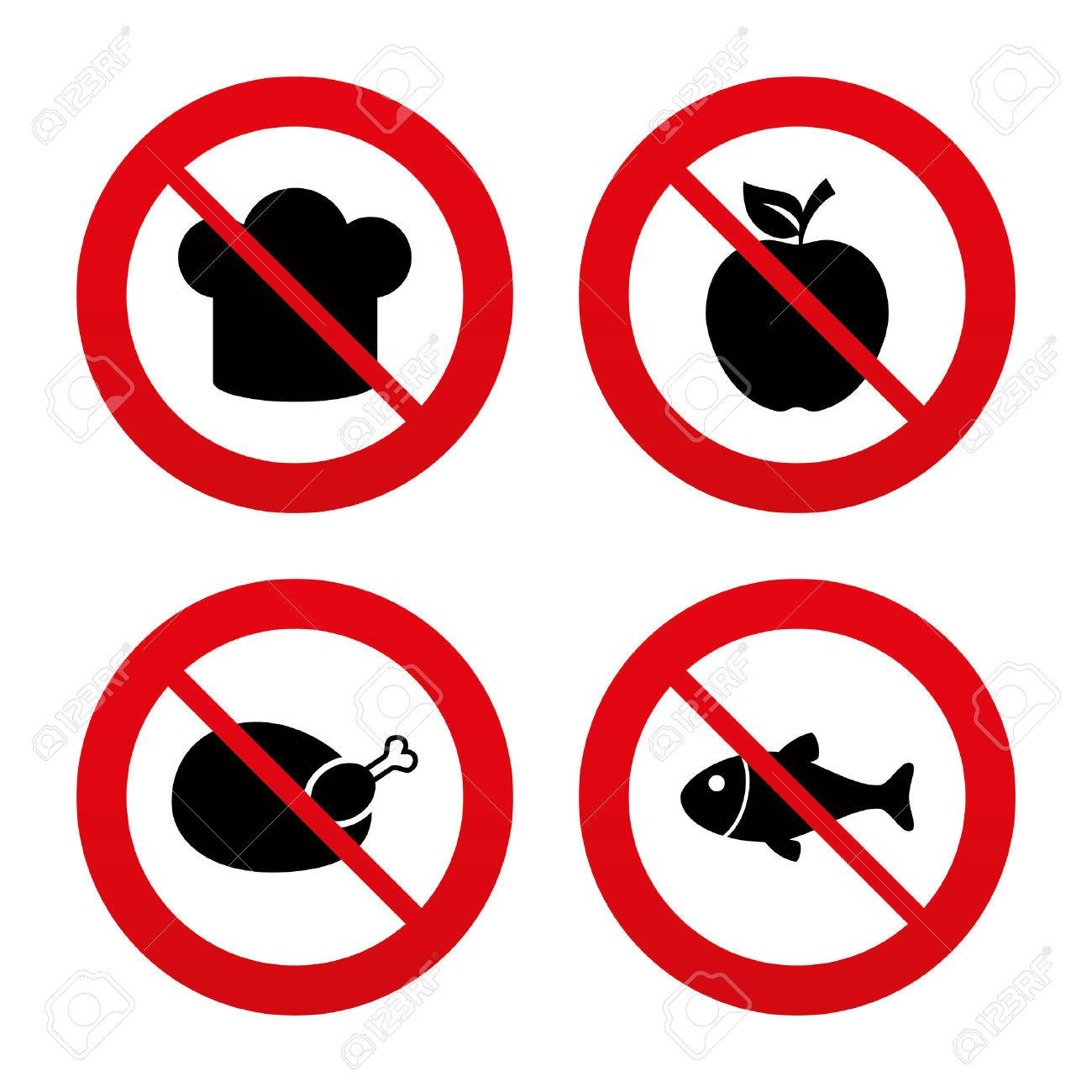 No Ban Or Stop Signs Food Icons Apple Fruit With Leaf Symbol Chicken Meat Diagram