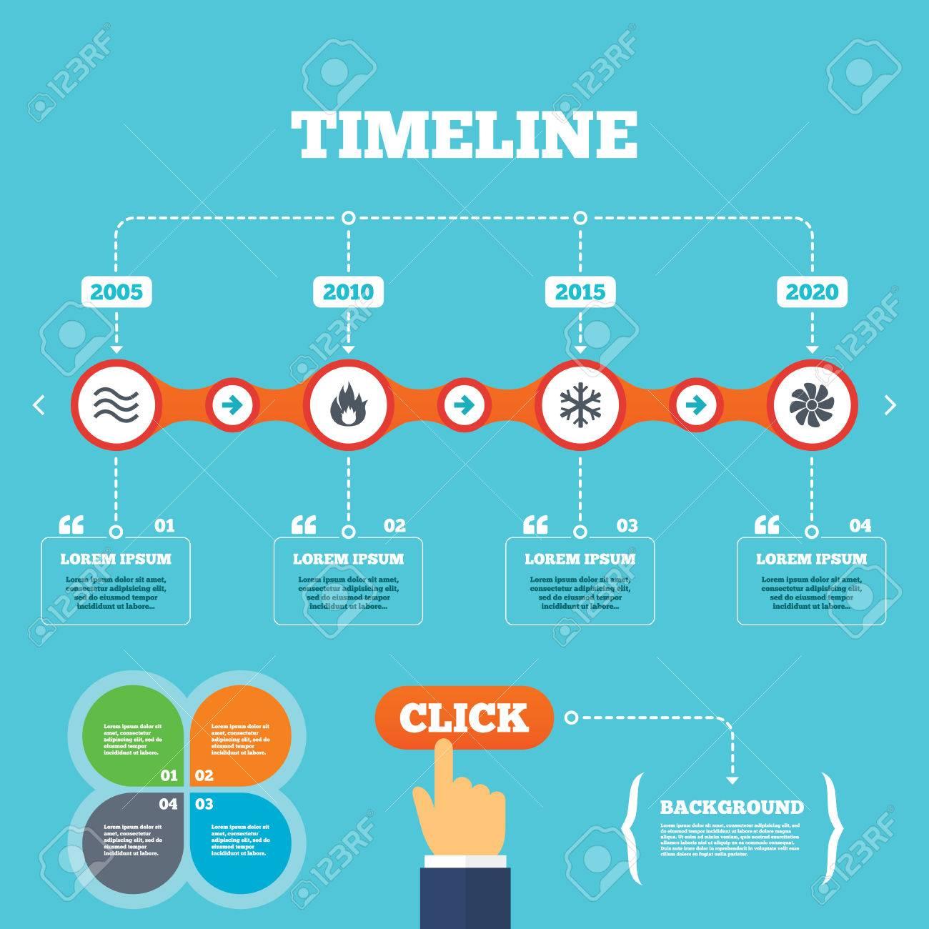 Línea De Tiempo Con Las Flechas Y Cotizaciones. Iconos HVAC ...