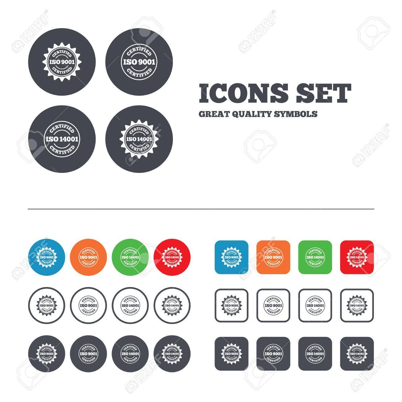 ISO 9001 Und 14001 Zertifiziert Symbole. Certification Sterne ...