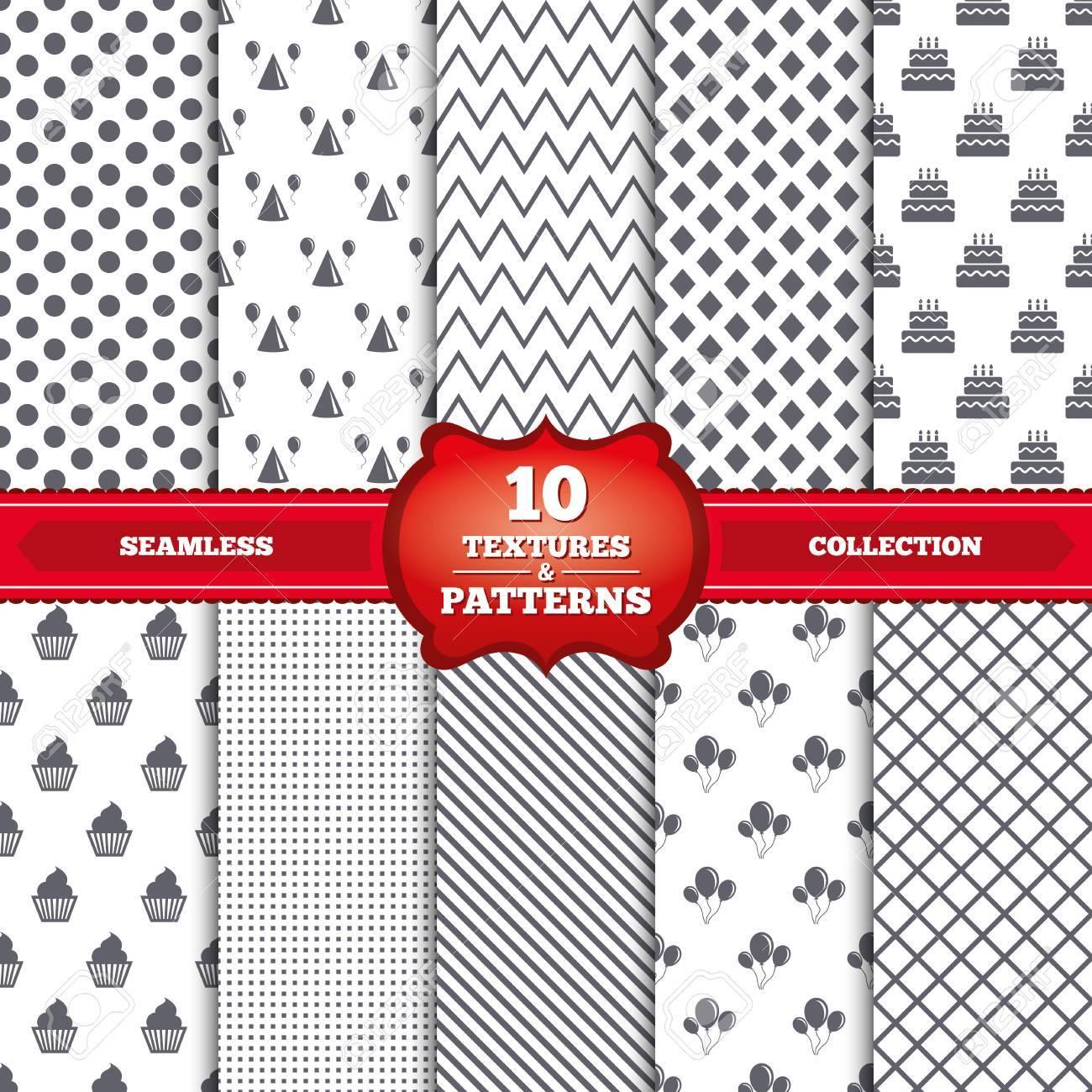 Patrones Repetibles Y Texturas. Iconos De La Fiesta De Cumpleaños ...