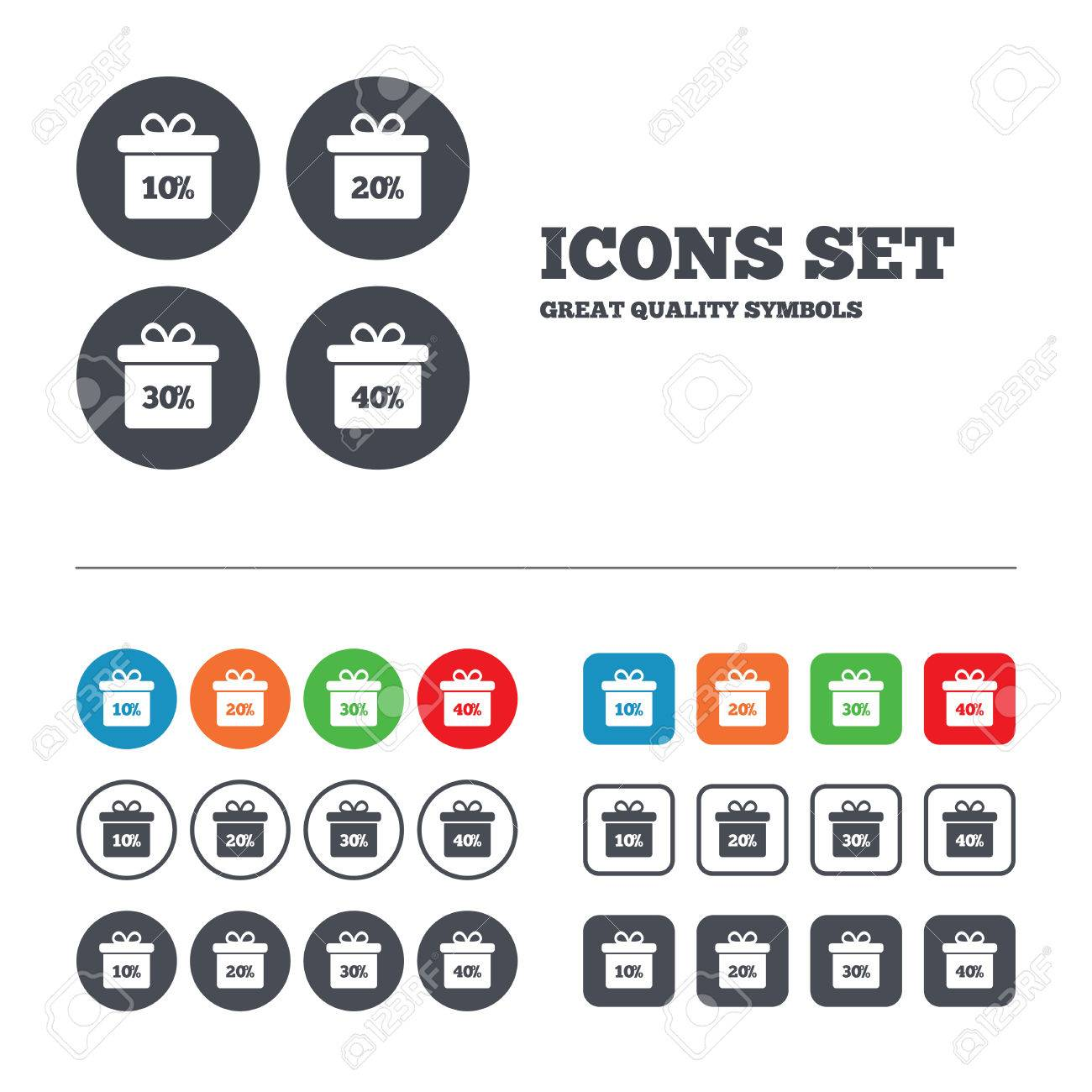 gift box tag icons discount special offer symbols 10 discount special offer symbols 10% 20%