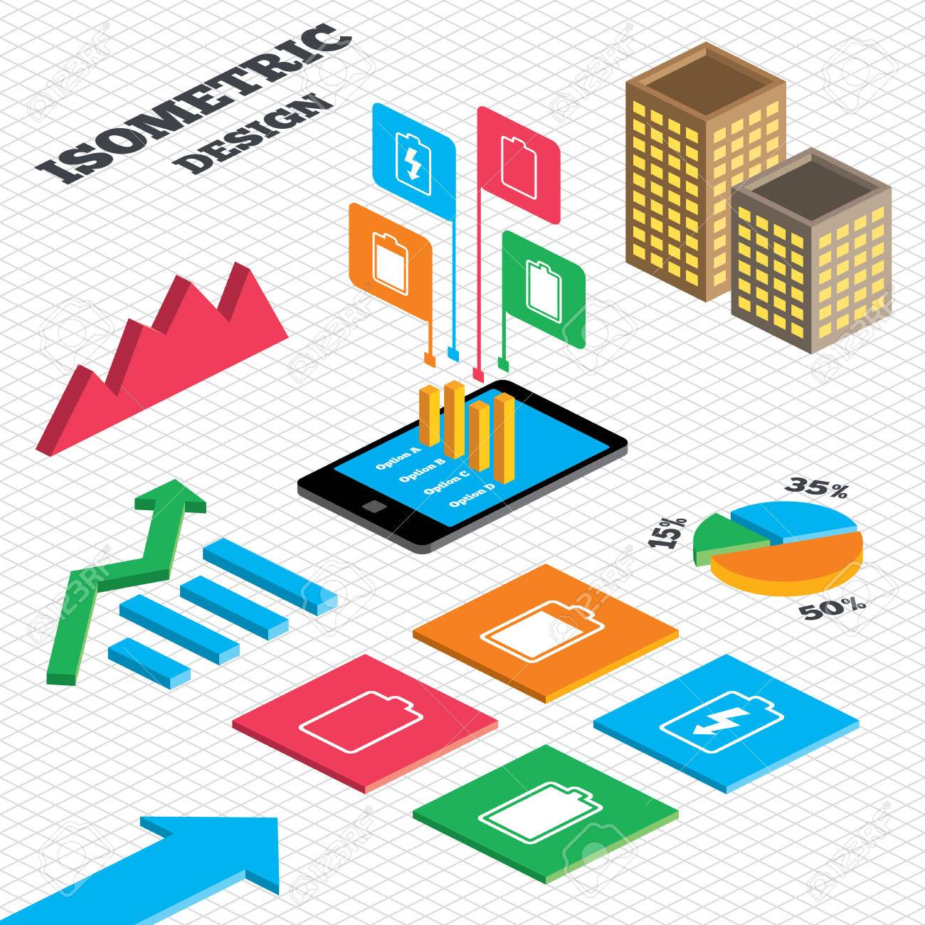 Isometric Design. Graph And Pie Chart. Battery Charging Icons ...