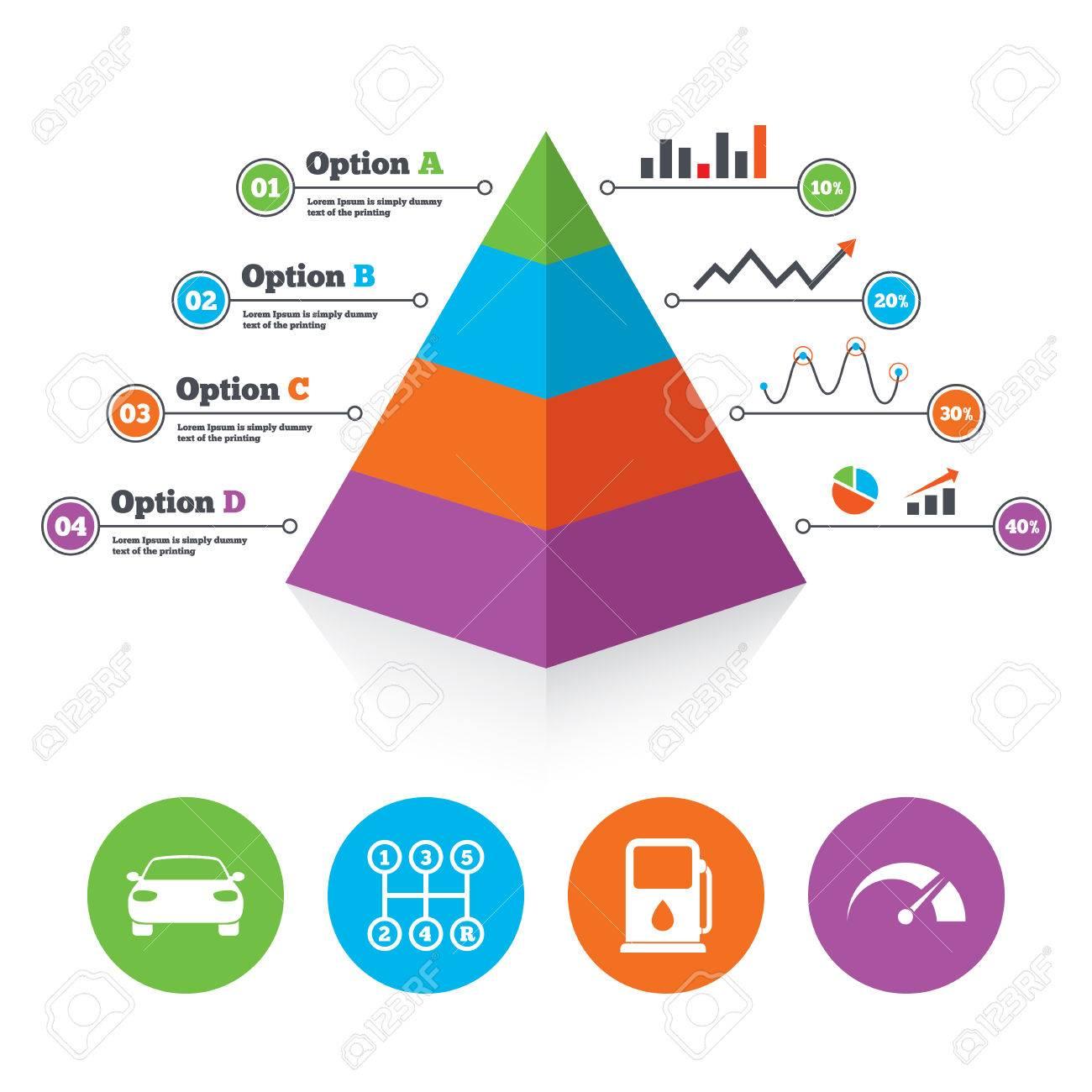 Pyramid Chart Template Transport Icons Car Tachometer And Manual Transmission Diagram Symbols Petrol Or