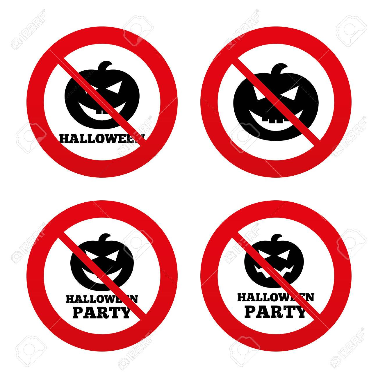 No, Ban Or Stop Signs. Halloween Pumpkin Icons. Halloween Party ...