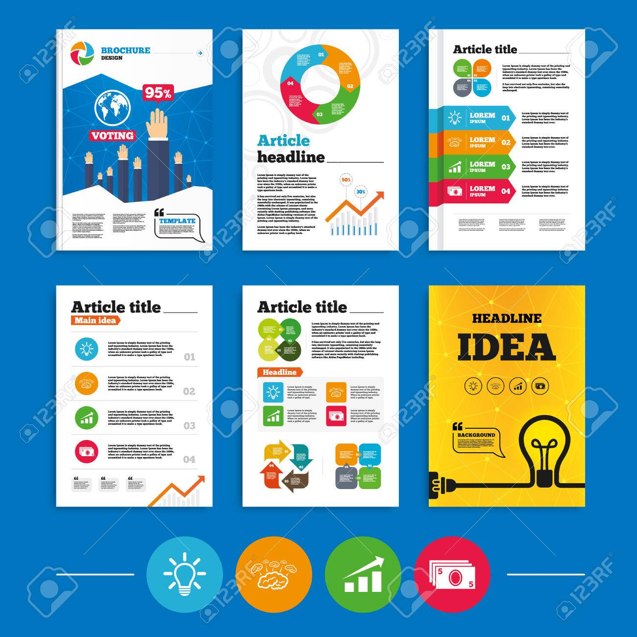 Brochure or flyers design. Chart with arrow, brainstorm icons...