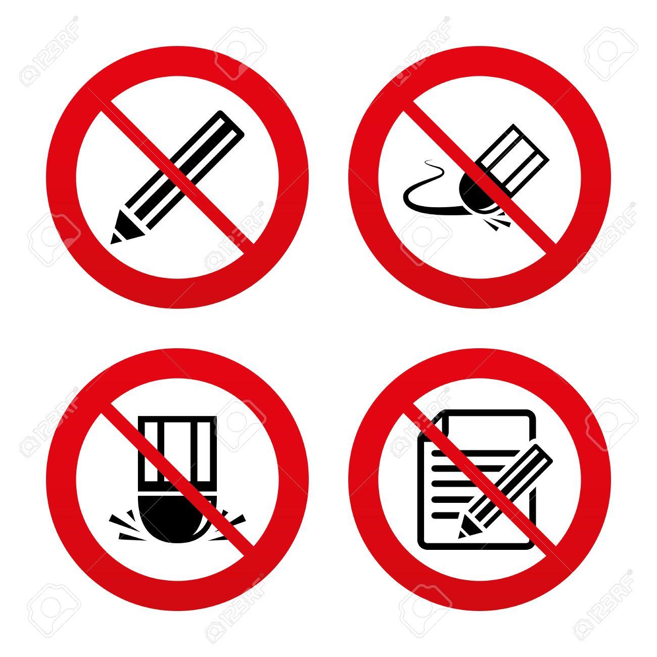 No, Ban or Stop signs  Pencil icon  Edit document file  Eraser