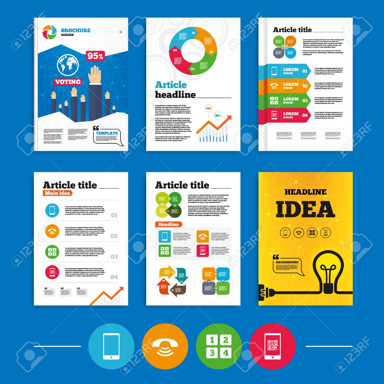 Brochure or flyers design phone icons smartphone with qr code brochure or flyers design phone icons smartphone with qr code sign call center biocorpaavc Images