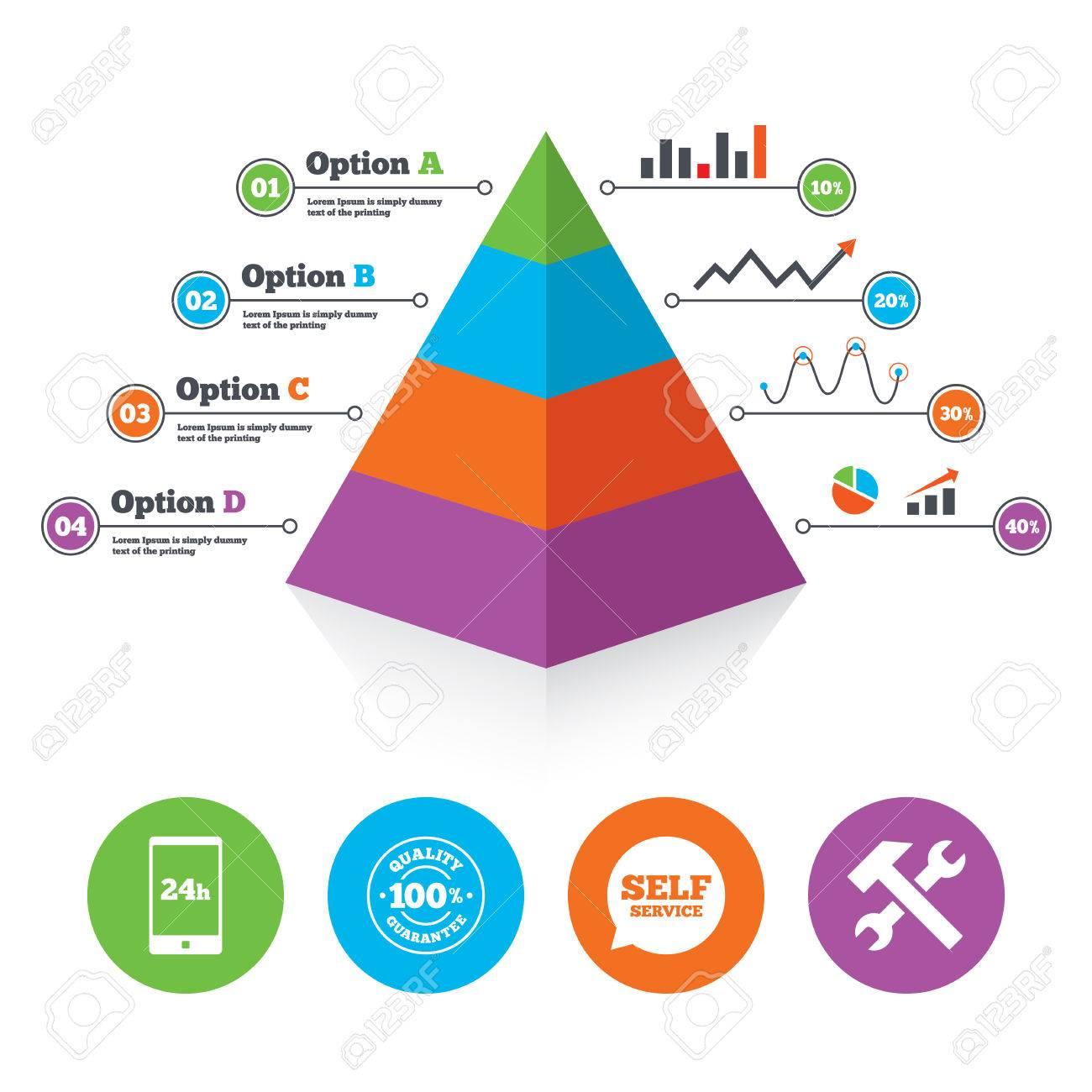 Pyramid Diagrammvorlage. Repair Tool Fix Symbole. 24-Stunden ...