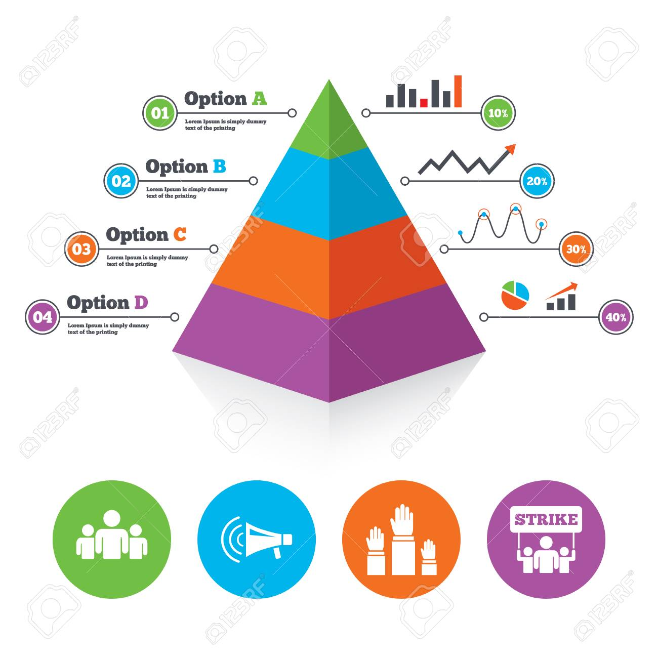 pyramid chart template strike group of people icon megaphone