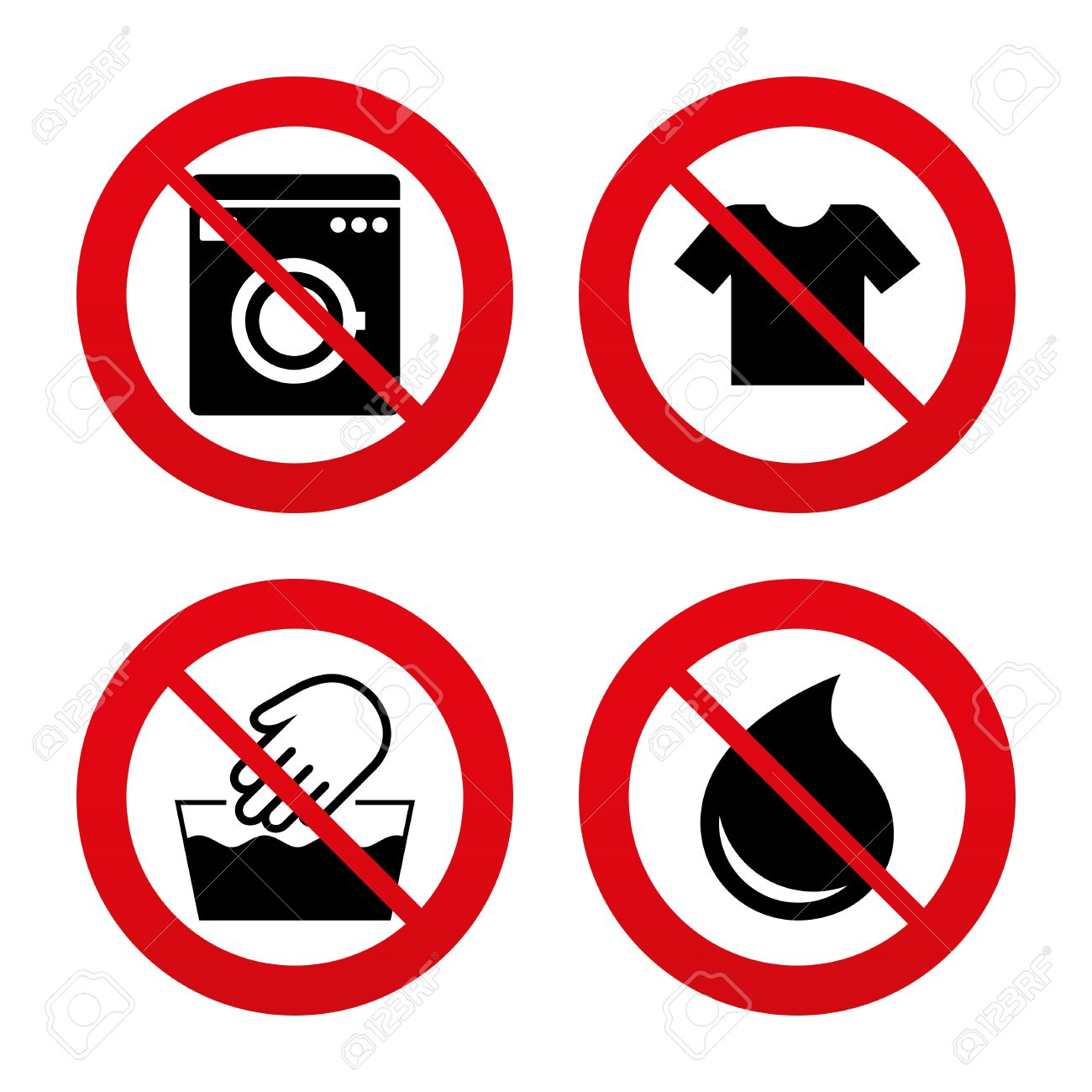No Ban Or Stop Signs Wash Machine Icon Hand T