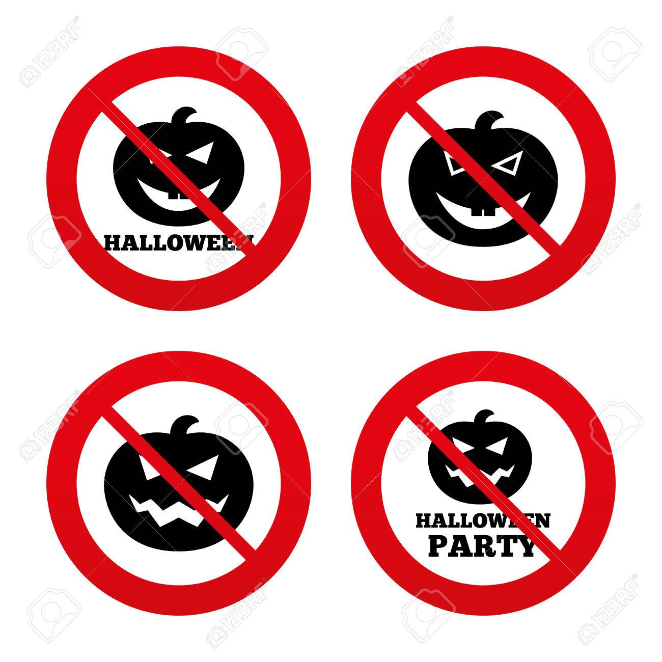 No Ban Or Stop Signs Halloween Pumpkin Icons Halloween Party