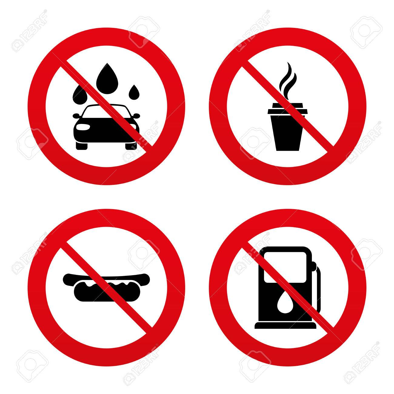 No Ban Or Stop Signs Petrol Or Gas Station Services Icons