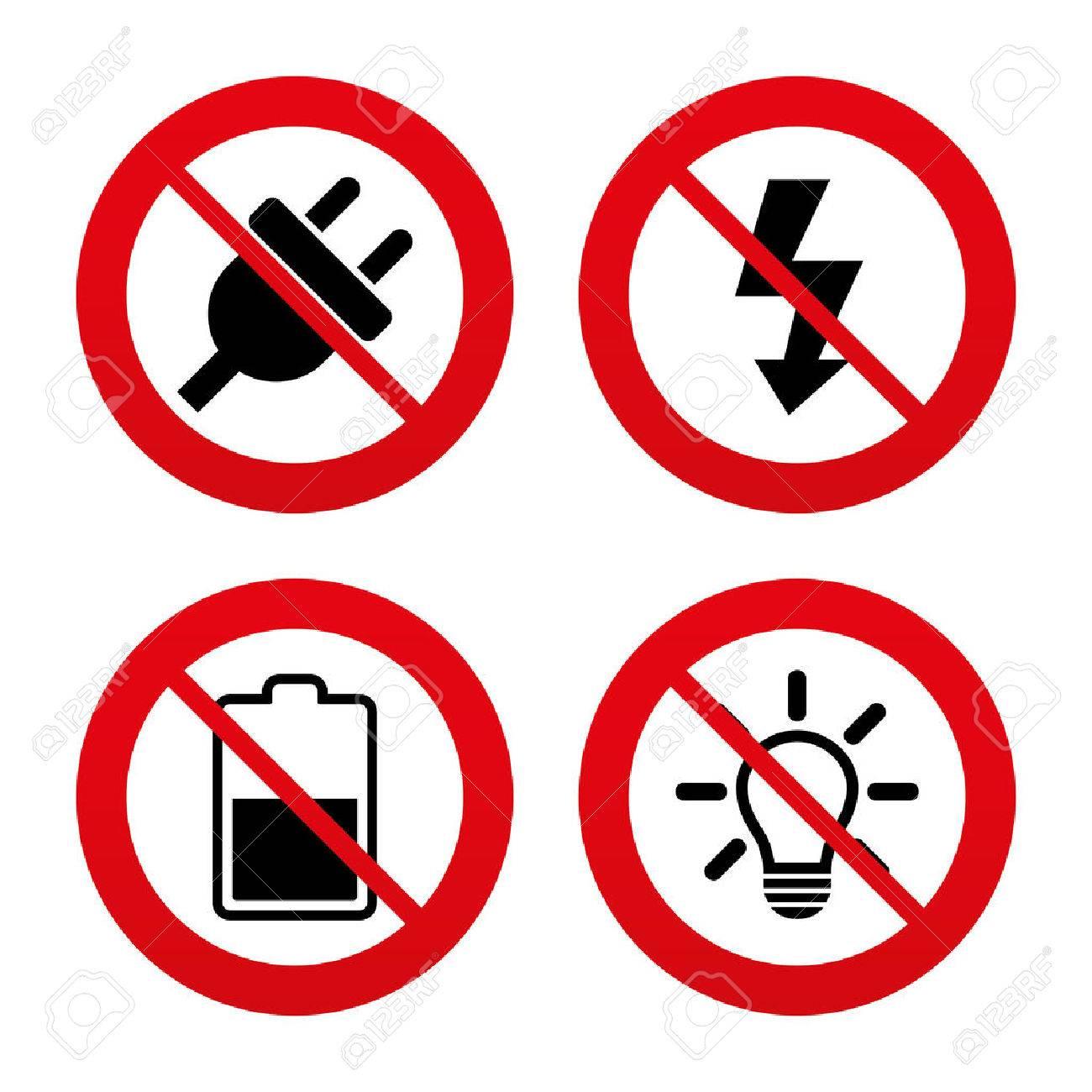 Nein, Ban Oder Stoppschilder. Electric Plug-Symbol. Lichtlampe Und ...
