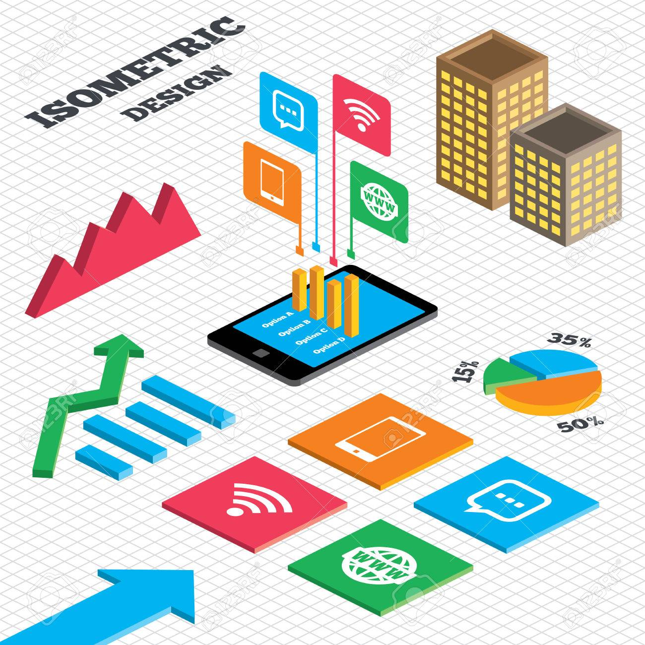 Isometric design graph and pie chart communication icons graph and pie chart communication icons smartphone and chat speech bubble geenschuldenfo Gallery