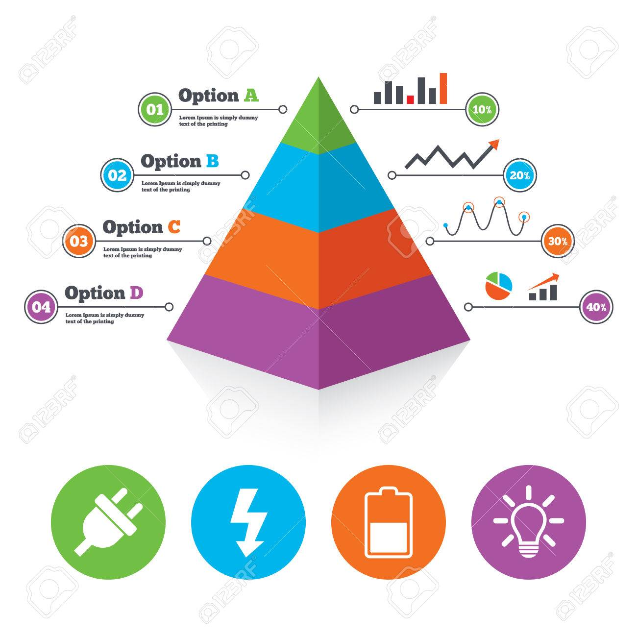 Pyramid Diagrammvorlage. Elektrische Steckersymbol. Lichtlampe Und ...