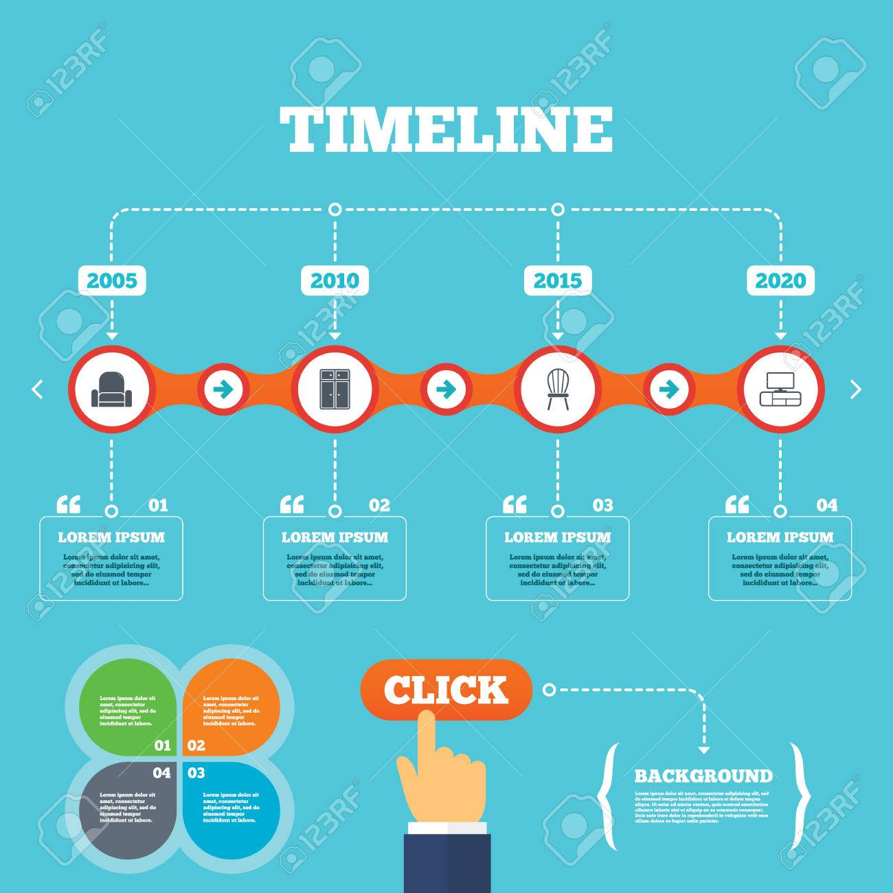 Timeline with arrows and quotes furniture icons cupboard chair and tv table signs