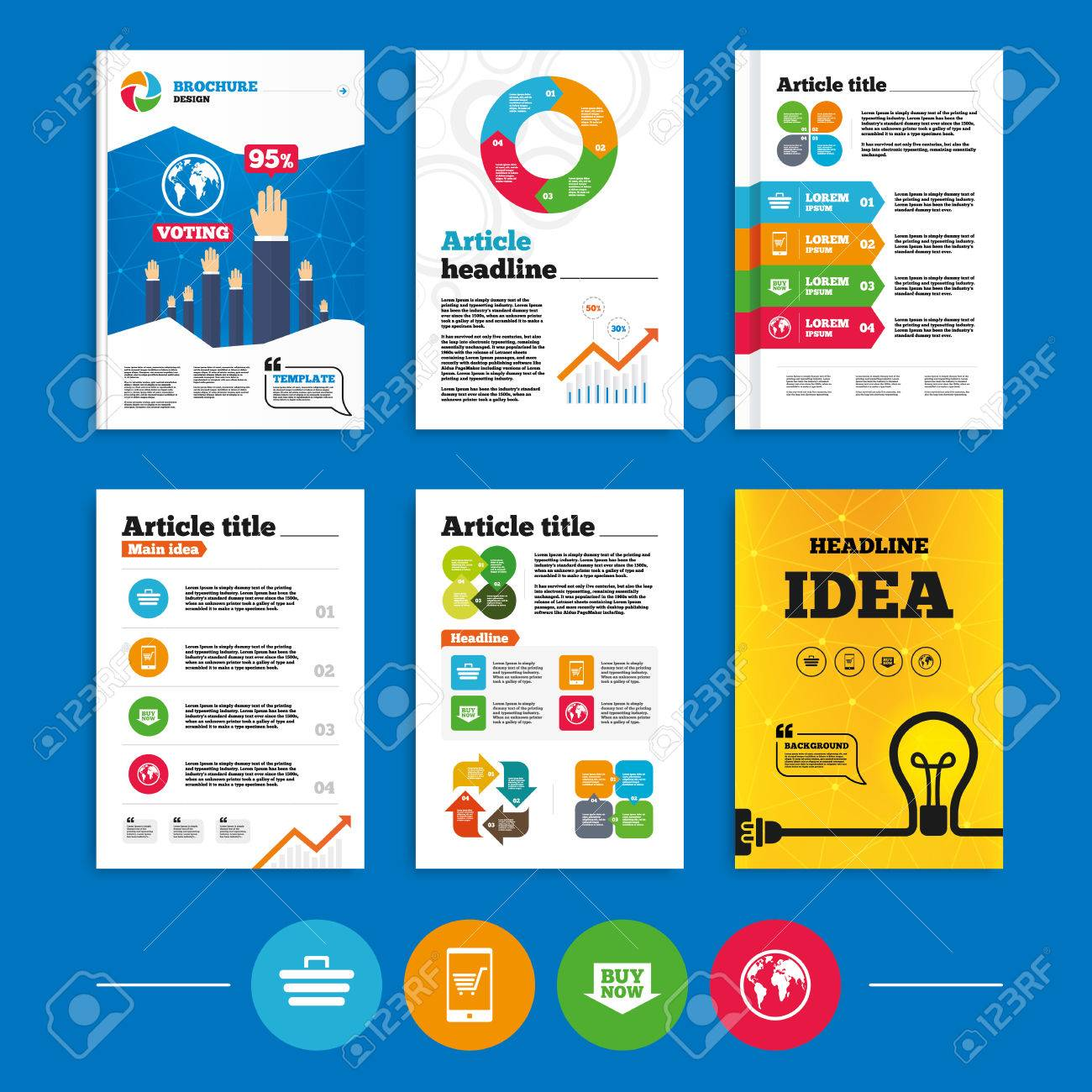 brochure or flyers design online shopping icons smartphone