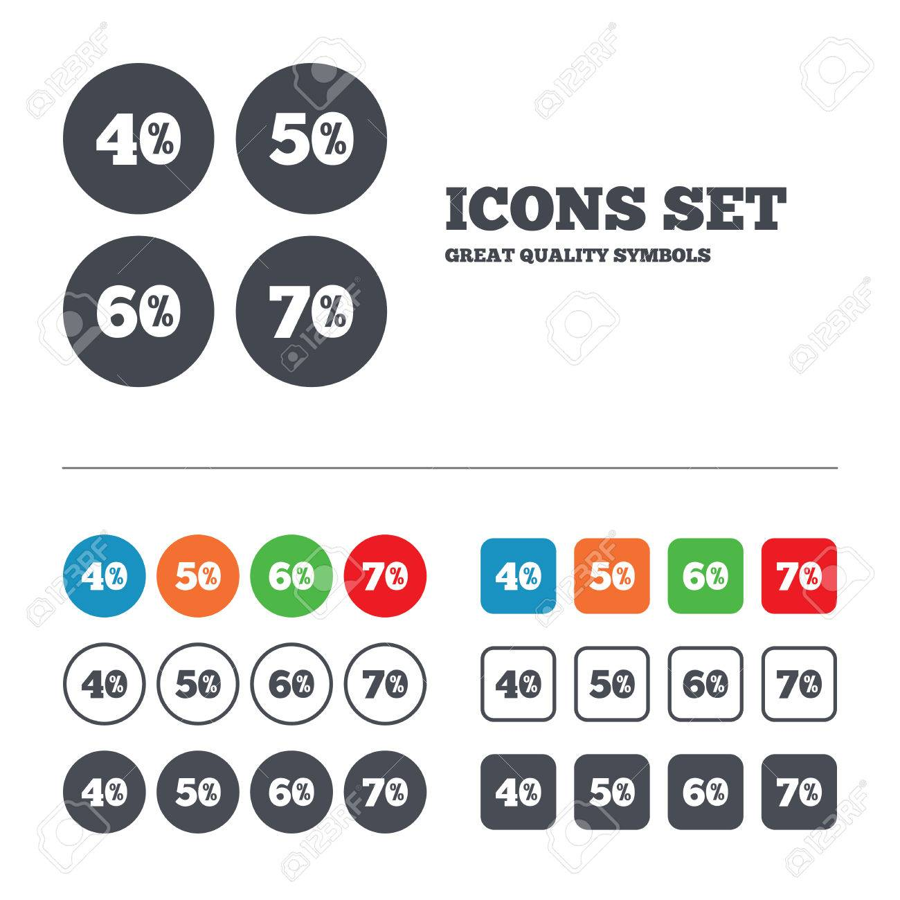 sale discount icons special offer price signs 40 50 60 and