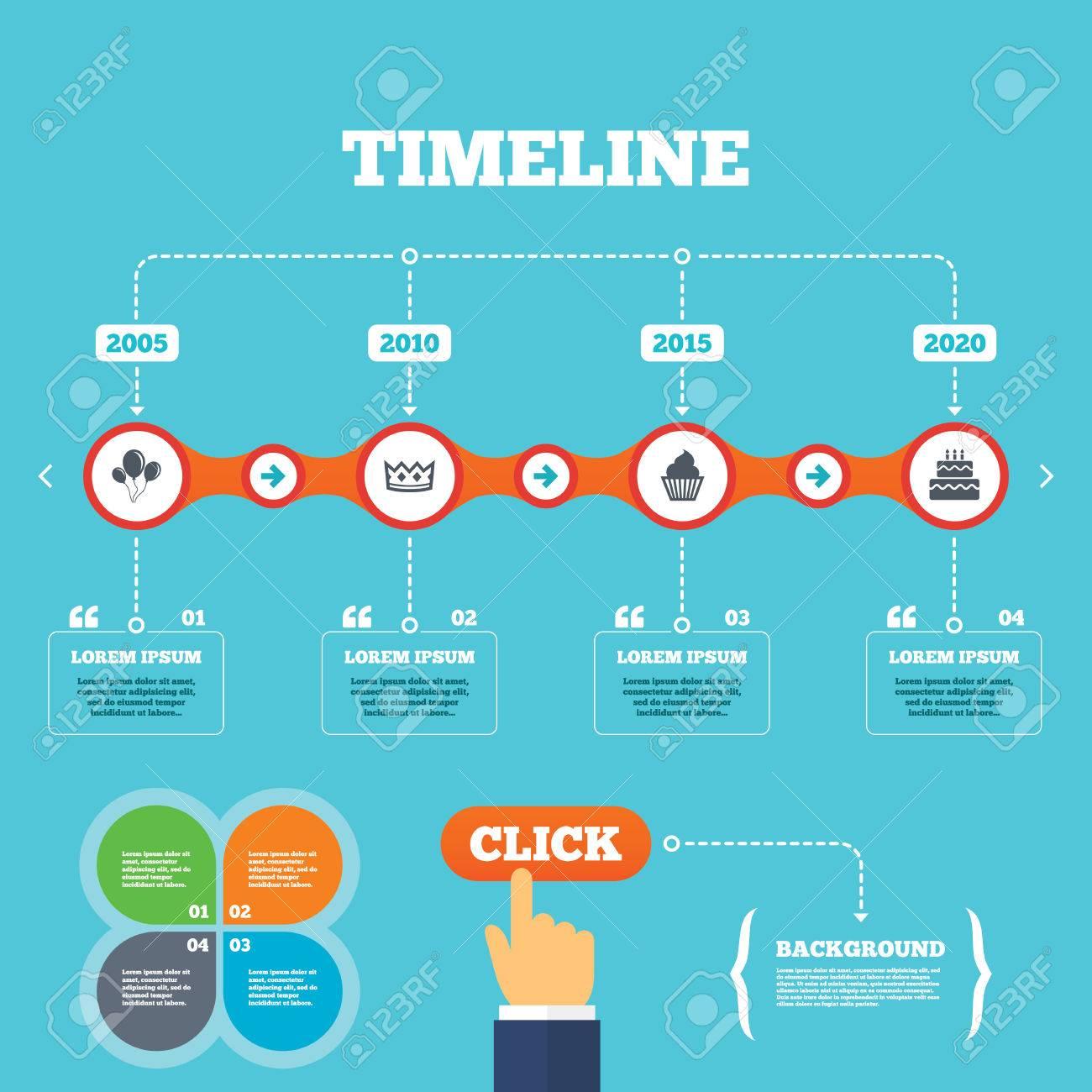 Timeline Con Le Frecce E Citazioni Compleanno Icone Corona Di